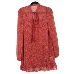 Free People Red Floral Print Tunic w Bow at Neck